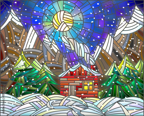 Naklejka Winter landscape in the stained glass style with a lone house on a background of mountains and the night sk
