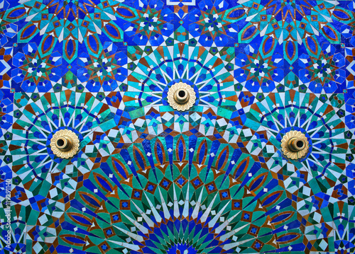 Fountain on the wall of Hassan II Mosque in Casablanca, Morocco.