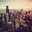Chicago Downtown- aerial view with Tilt shift effect