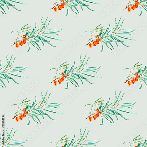 Fototapeta floral seamless pattern with sea buckthorn and branches.watercolor hand drawn illustration.green background.