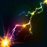 Fototapety Rainbow colors shining cosmic plasma lightning