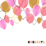 Fototapety Watercolor pink and glittering gold balloon. Vector celebration background.