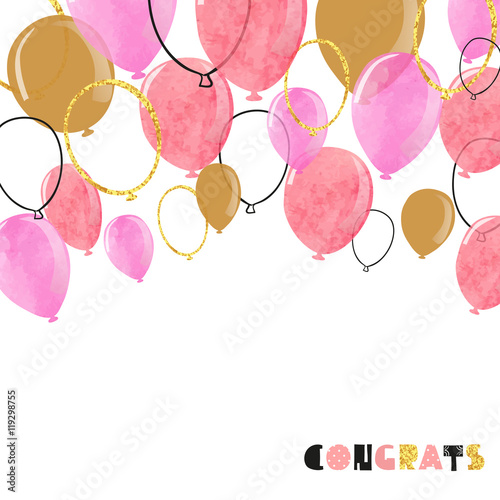 Watercolor pink and glittering gold balloon. Vector celebration background.