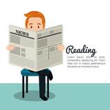 man reading newspaper icon