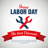 labor day sale big isolated icon vector illustration design