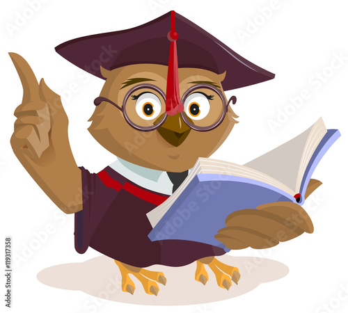 Foto op Aluminium Uilen cartoon Owl teacher reading book