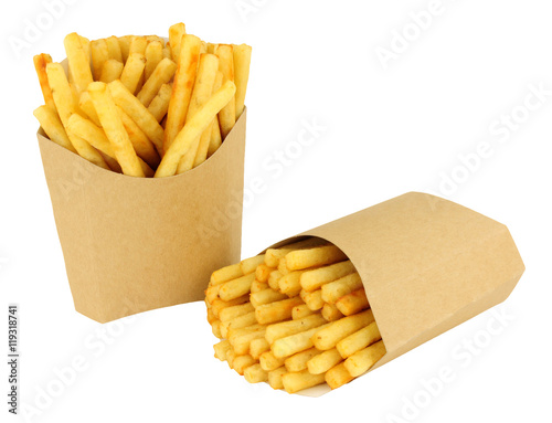 Poster French Fries In Cardboard Scoops