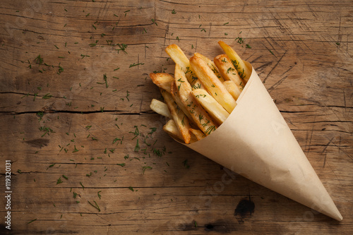 Poster fries french herb still life wood background flat lay