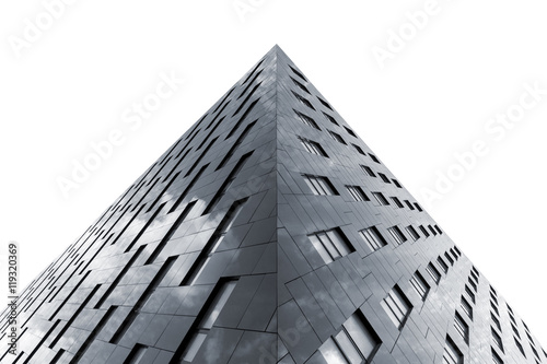 Bottom view of modern office building isolated on white background