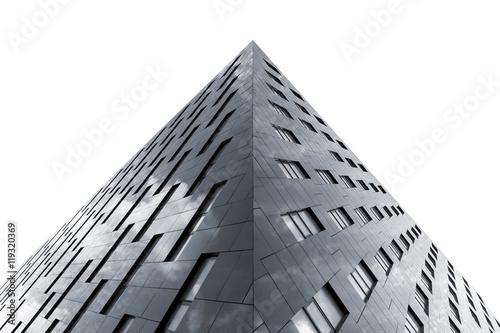 Fototapeta Bottom view of modern office building isolated on white background