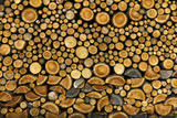 Background of dry chopped firewood logs stacked up on top - 119324199