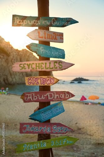 Deurstickers Abu Dhabi Direction signpost with distance to many different cities