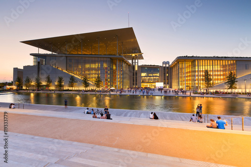 Deurstickers Athene View of Stavros Niarchos Foundation Cultural Center in city of Athens.