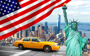 New York City with Liberty Statue ad yellow cab
