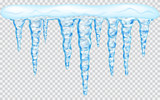 Fototapety Hanging translucent icicles with snow in light blue colors on transparent background. Transparency only in vector file
