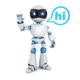 Modern robot and sign hi