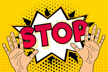 Pop art background with male hands speech bubble and stop lettering. Retro comic vector illustration.