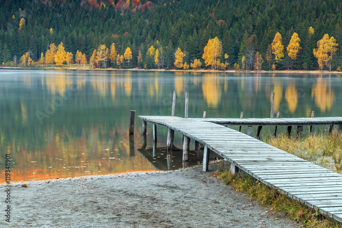Poster Autumn landscape with colorful forest,St Ana Lake,Transylvania,Romania,Europe