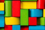 Toy Blocks Background, Organized Children Building Bricks - 119350973