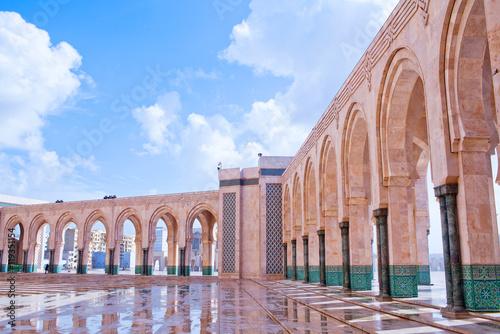 Arcade gallery in Hassan II Mosque in Casablanca, Morocco, Africa Poster