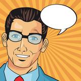 businessman glasses bubble man male suit cartoon pop art comic retro icon. Colorful and striped design. Vector illustration