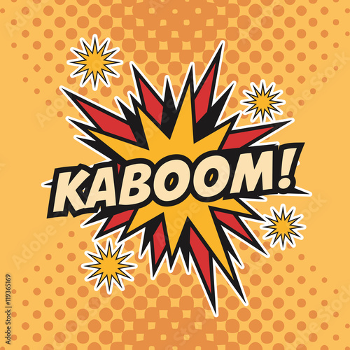 kaboom boom explosion cartoon pop art comic retro communication icon. Colorful pointed design. Vector illustration