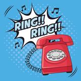 Pierścień eksplozji telefonu cartoon pop sztuki komiks retro komunikacji ikonę. Kolorowy spiczasty wzór. Ilustracji wektorowych