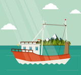 boat cloud mountains ship sea ocen transportation icon. Colorful and flat design. Green landscape background. Vector illustration