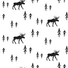 Scandinavian simple style black and white deer seamless pattern. Deers and pines monochrome silhouette pattern.