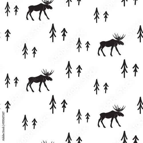 Scandinavian simple style black and white deer seamless pattern. Deers and pines monochrome silhouette pattern. - 119367367