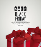 red gift black friday sale offers icon. Black white and red design. Vector illustration