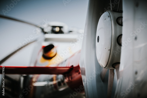 Close up detail of helicopter tail rotor.