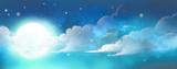 cielo de noche con luna y nubes