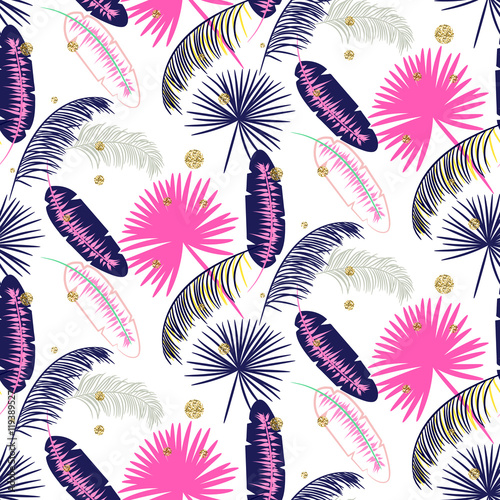 Pink and blue banana palm leaves seamless vector pattern on white background. Tropical banana jungle leaf. Glitter dots. - 119389527