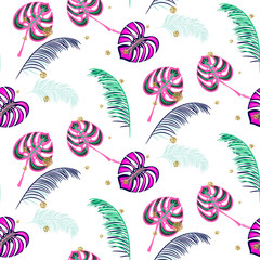 Monstera pink tropic plant leaves seamless pattern. Exotic nature pattern for fabric, wallpaper or apparel.