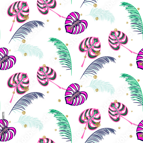 Monstera pink tropic plant leaves seamless pattern. Exotic nature pattern for fabric, wallpaper or apparel. - 119389771