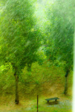 Rainy outside window green background texture.