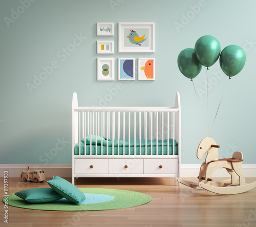 Modern baby's room with pale green wall