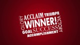 Winner Success Goal Achieved Victory Word Collage 3d Animation
