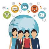 social network media isolated icon vector illustration design