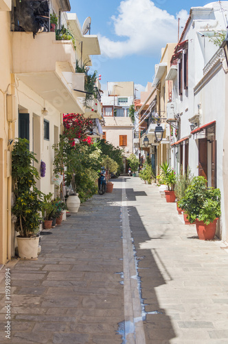 Typical street in old town of Rethymno, Crete, Greece