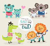Fathers day greeting card. Vector illustration. Cute little bear, alligator, koala bear and lion with their father.