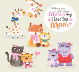 Mothers day greeting card. Vector illustration. Cute little giraffe, fox, cat and hippo with their mother.