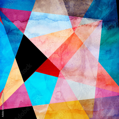 Abstract watercolor geometric background - 119409564