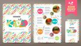 Fototapety Cute colorful kids meal menu vector template