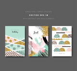 Fototapety Set of greeting cards with golden glitter elements