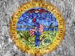 Grudge stone painted US Iowa seal flag