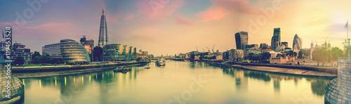Zdjęcia na płótnie, fototapety, obrazy : London panoramic toned picture from Tower Bridge