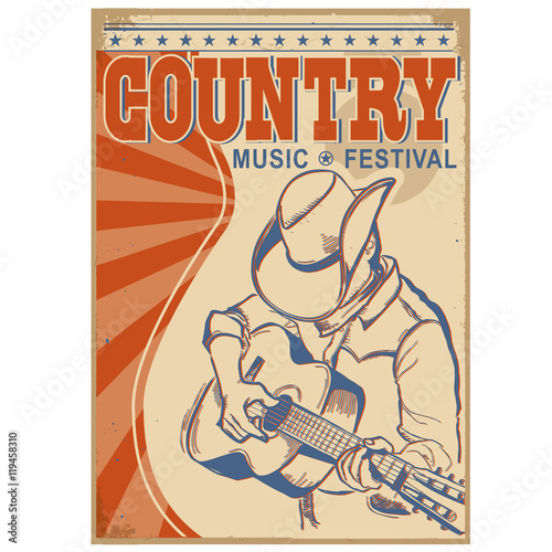 Fotobehang Vintage Poster Country music background with text.Musician in cowboy hat playi