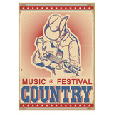 American music festival background with musician playing guitar.